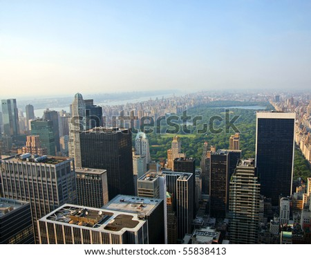 View of Central Park in New York City on a hazy summer day - stock photo