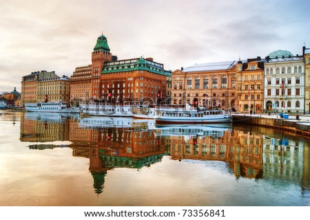 View of central Stockholm at dawn. - stock photo