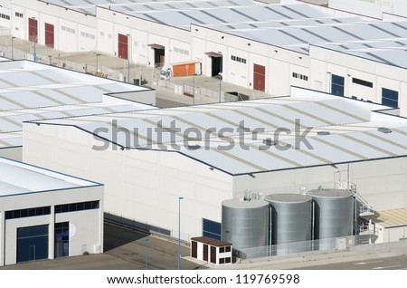 View  of Centrovia industrial zone, La Muela, Saragossa province, Aragon, Spain