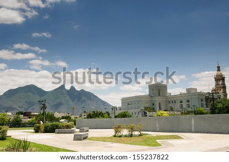 View of Cerro de la Silla mountain from Macroplaza in Monterrey, Nuevo Leon, Mexico
