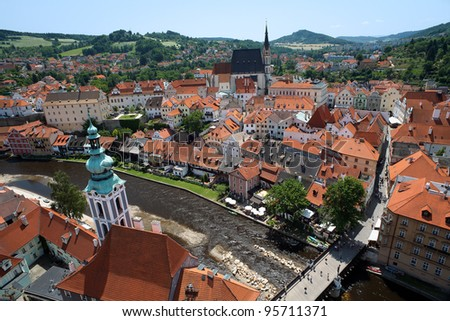 View of Cesky Krumlov, St. Jost Church and St. Vitus cathedral, Czech Republic - stock photo