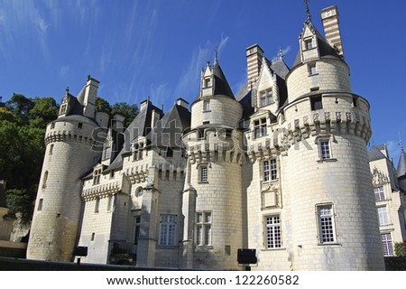 View of Château d'Ussé, located in the commune of Rigny-Ussé in the Indre-et-Loire departement, Loire Valley, France - stock photo