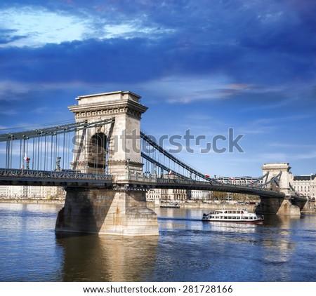 View of Chain Bridge in Budapest, capital city of Hungary - stock photo