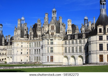 View of Chambord castle in Loire valley, France