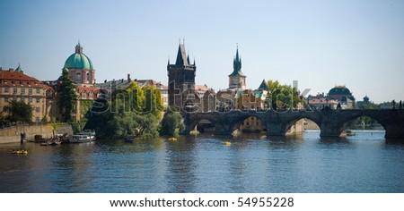 View of Charles Bridge, Prague - stock photo