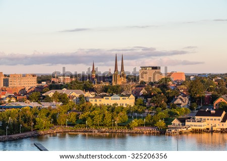 View of Charlottetown, Prince Edward Island, Canada from the sea - stock photo