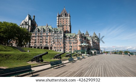 View of Chateau Frontenac, city of Quebec, canada. - stock photo