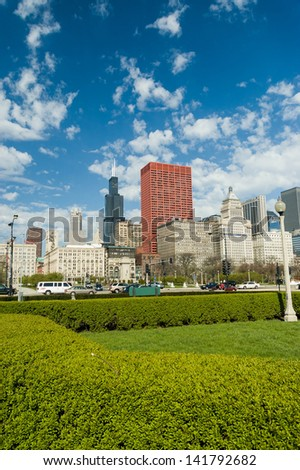 View of Chicago downtown from Millennium park - stock photo