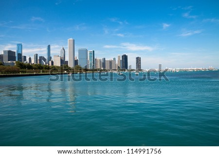 View of Chicago Downtown skyline - stock photo