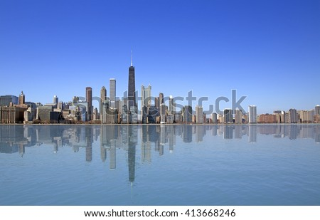 View of Chicago from Michigan lake - stock photo
