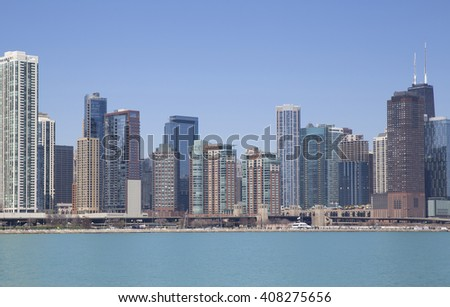 View of Chicago from the lake - stock photo