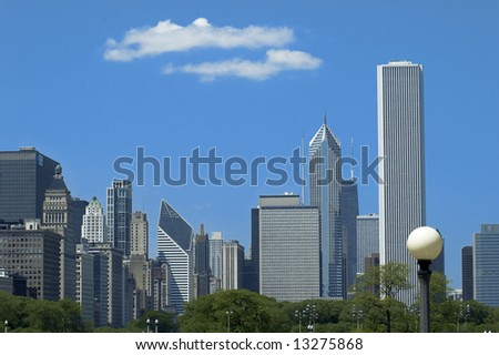 View of chicago skycrapers from Millenium park