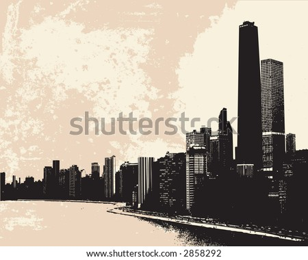 View of Chicago skyline from Lake Michigan - stock photo