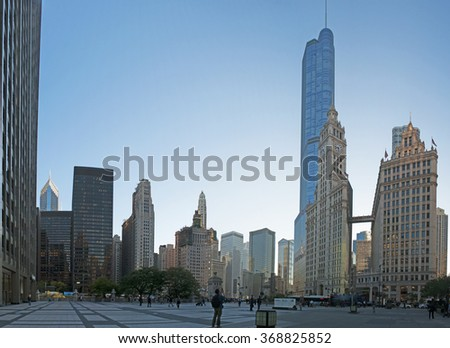 View of Chicago skyline with Trump tower and Wrigley building on September 22, 2014. Wrigley building was built to house the corporate headquarters of Wrigley Company. Trump Tower is 1389 feet high - stock photo