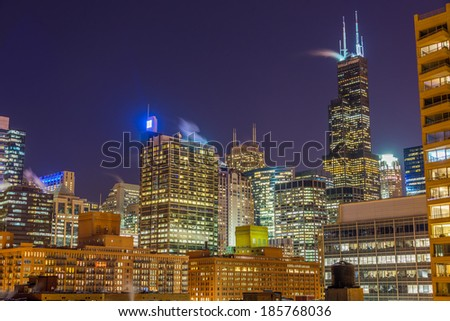 View of Chicago skyscrapers at nighttime - stock photo