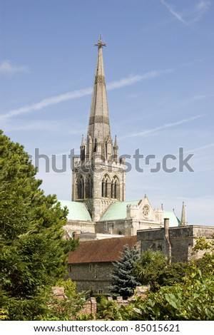 View of Chichester Cathedral across the gardens of the Bishop's Palace.  West Sussex.