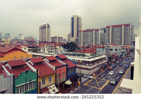 view of  Chinatown, Singapore. - stock photo