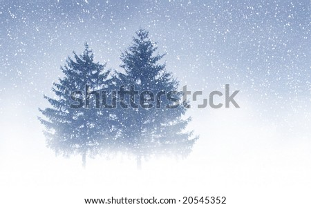 View of christmas trees through snow. Blue sky, snowflakes, trees and fog. - stock photo