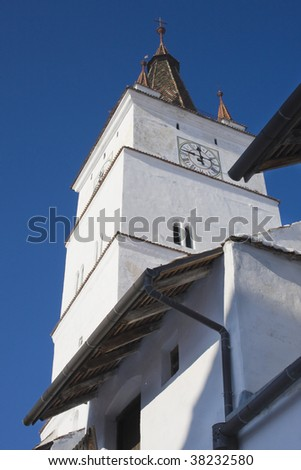 view of church clock tower fortified church - stock photo