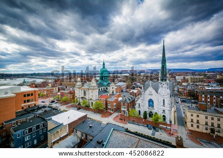 View of churches and buildings on State Street, in Harrisburg, Pennsylvania.