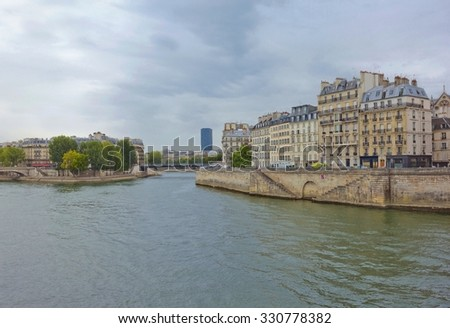 View of Cite island in Paris, France