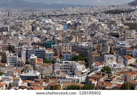 view of city Athens and temple of Zeus, Greece from the hill of the Acropolis.