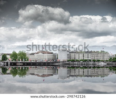 view of city of Geneva, the Leman Lake in Switzerland, Europe - stock photo