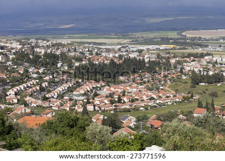 View of city of Rosh Pina and Hula Valley - stock photo