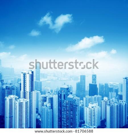 view of city scene of hong kong - stock photo