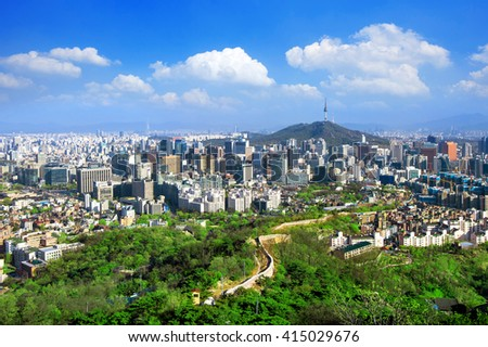 View of cityscape and Seoul tower in Seoul, South Korea. - stock photo