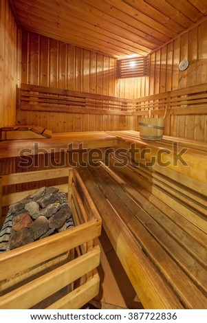 View of classic wooden sauna - stock photo