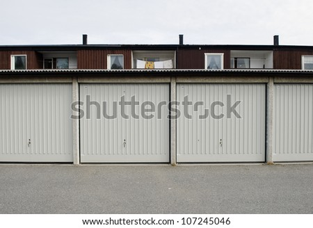 View of closed garage