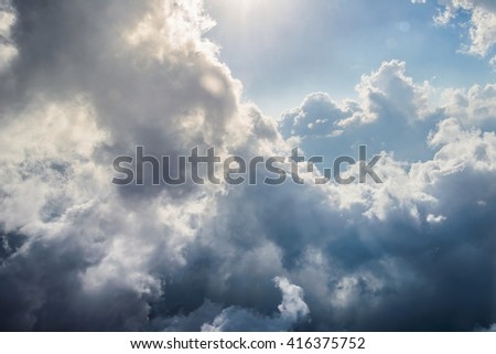 View of Clouds and sky from airplane window
