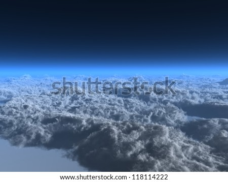 View of clouds from above