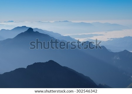 view of clouds from high mountain