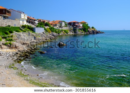 View of coast in town of Sozopol, Bulgaria - stock photo