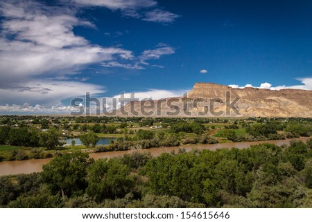 View of Colorado River and the Grand Valley in Palisades Colorado on a sunny summer afternoon - stock photo