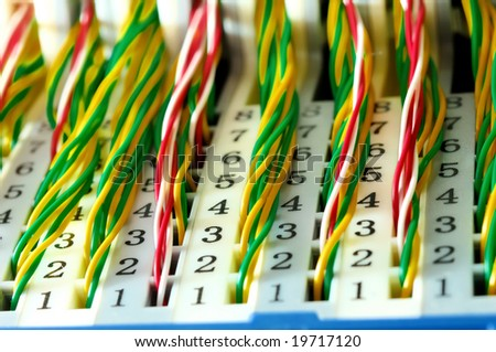View of colorful electrical wires and cable - stock photo