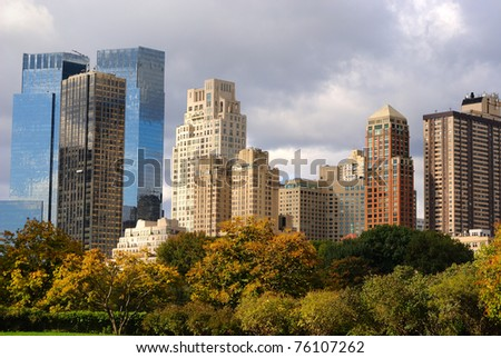View of Columbus Circle office buildings in New York City, seen from Central Park. - stock photo