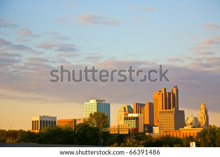 View of Columbus, Ohio from the northeast - stock photo