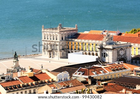 view of commerce place in Lisbon, Baixa district near the famous Tage river - stock photo