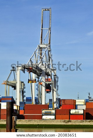 View of containers in a harbor