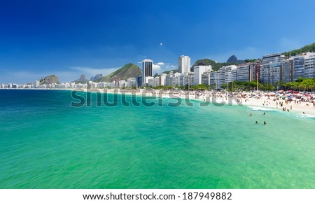 view of Copacabana beach in Rio de Janeiro, Brazil - stock photo