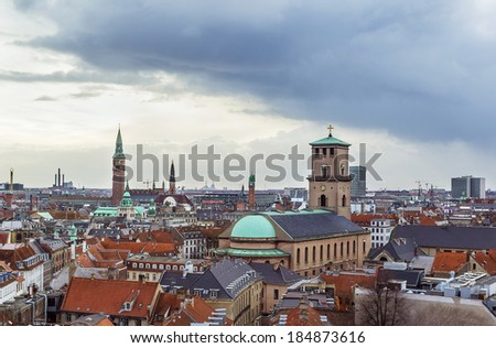 View  of Copenhagen historic centre from The Round Tower, Denmark - stock photo