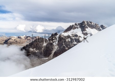 View of Cordillera Real mountain range from high camp of climbers under Huayna Potosi mountain in Bolivia - stock photo