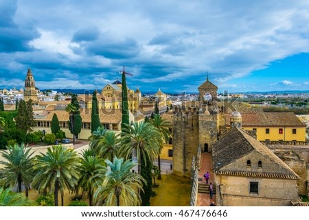 view of Cordoba from the Alcazar de los reyes cristianos - royal palace of the cristian kings, Spain.