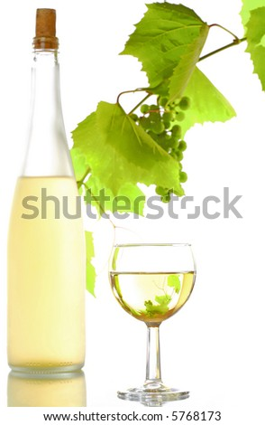 view of corked wine bottle with vine and wineglass  on white back - stock photo