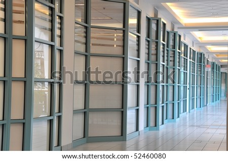 View of corner hallway in the mall - stock photo