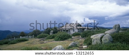 view of craigs hut in the victorian high country - stock photo