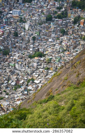 View of crowded Brazilian Rocinha favela shanty town from the Two Brothers Mountain in Rio de Janeiro Brazil